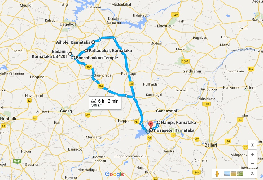 Hampi-Hospet-Badami-Pattadakal-Aihole-Road-Map