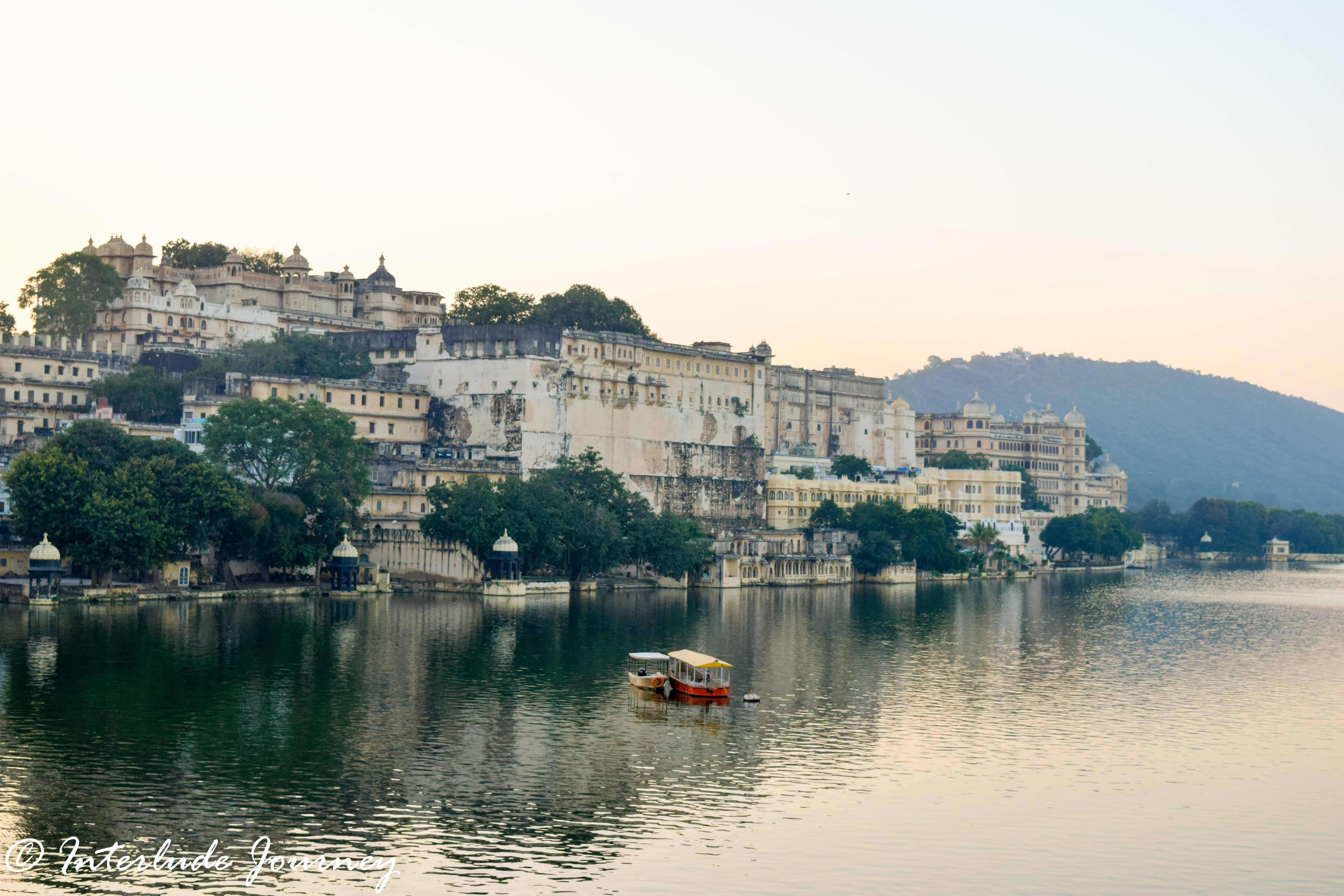 View of the Udaipur City Palace from west banks of Lake Pichola