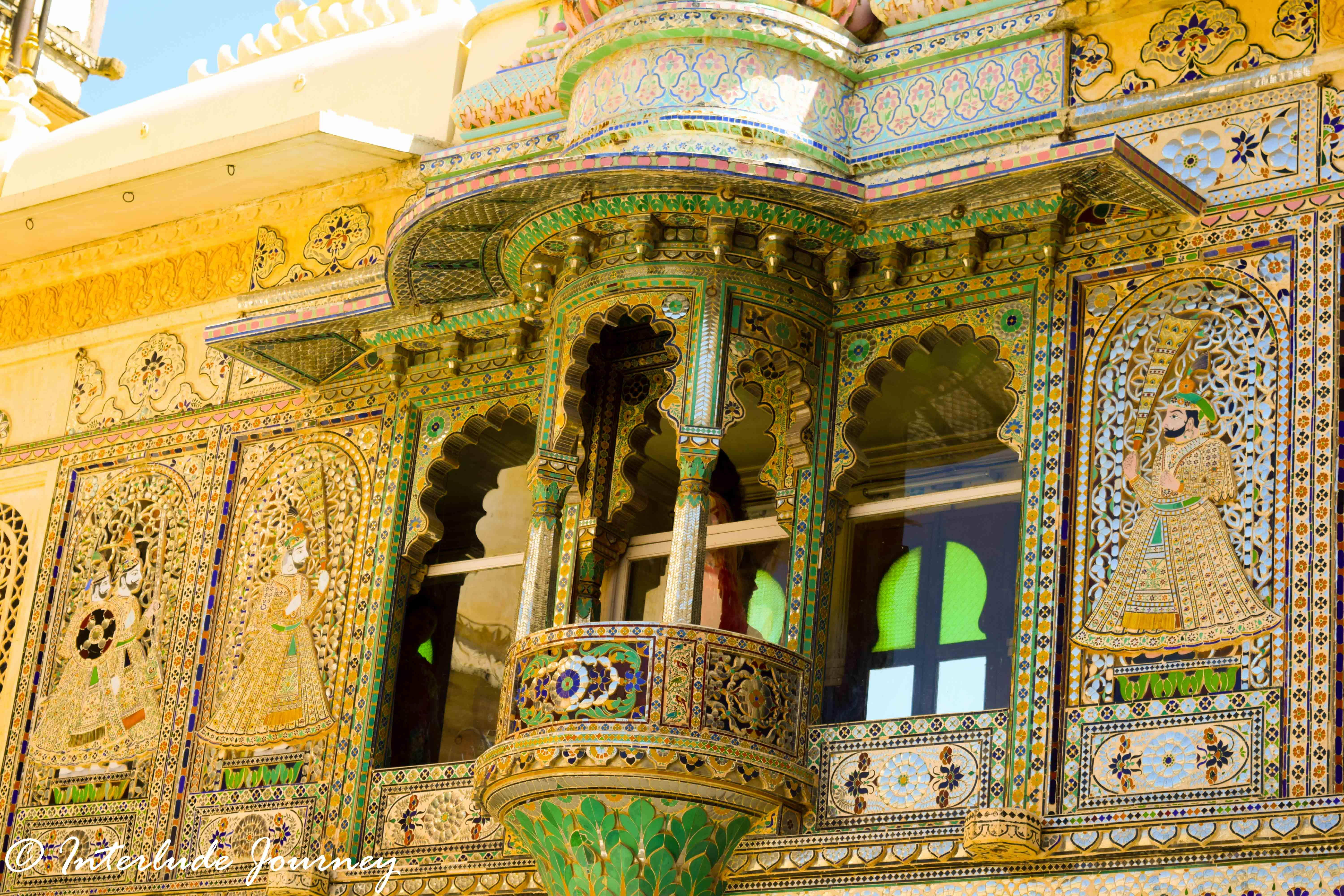 beautiful mirror and glass work in Mor-Chowk or Peacock Gallery at Udaipur City Palace