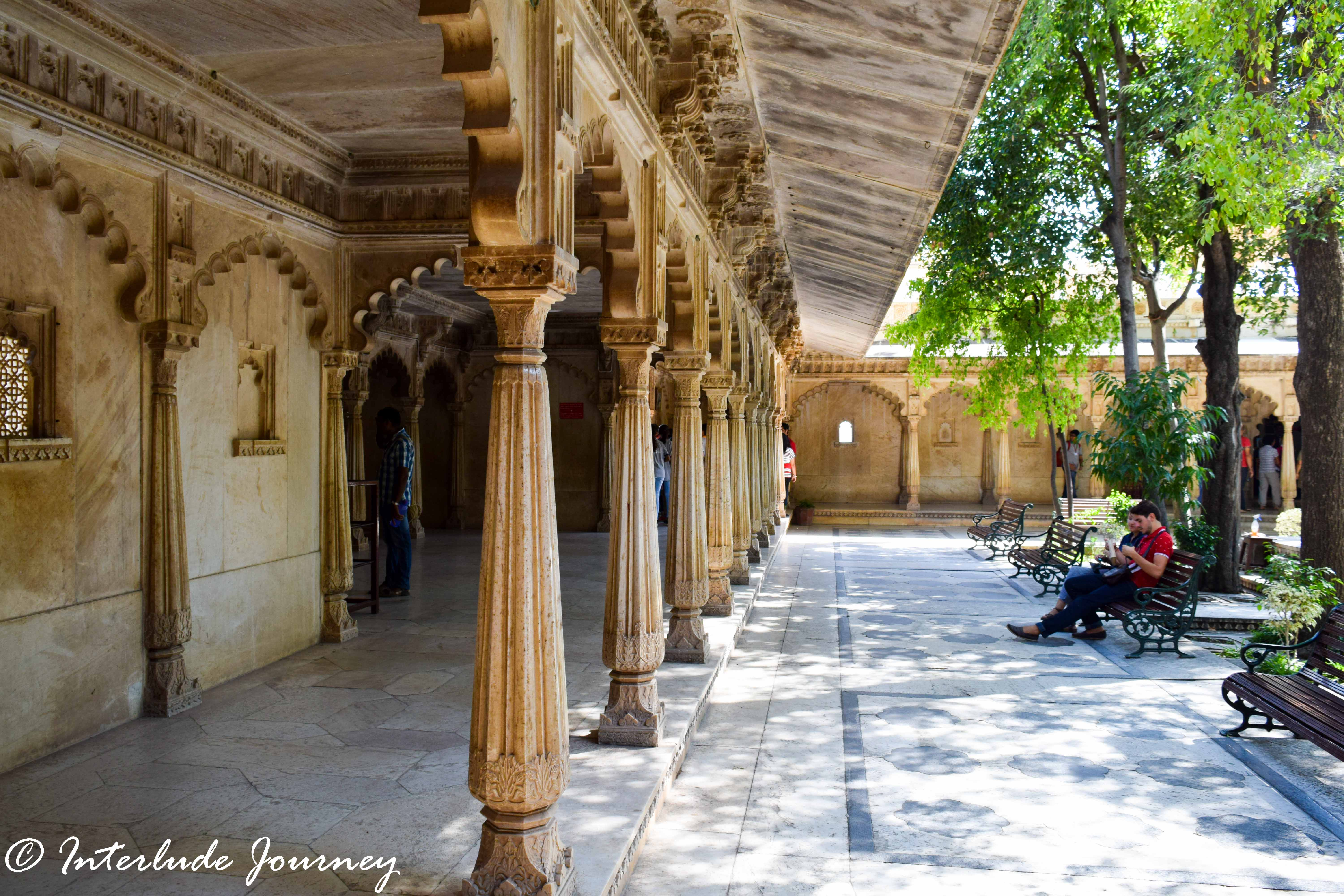 One of the courtyards in the higher structures of the Udaipur City Palace