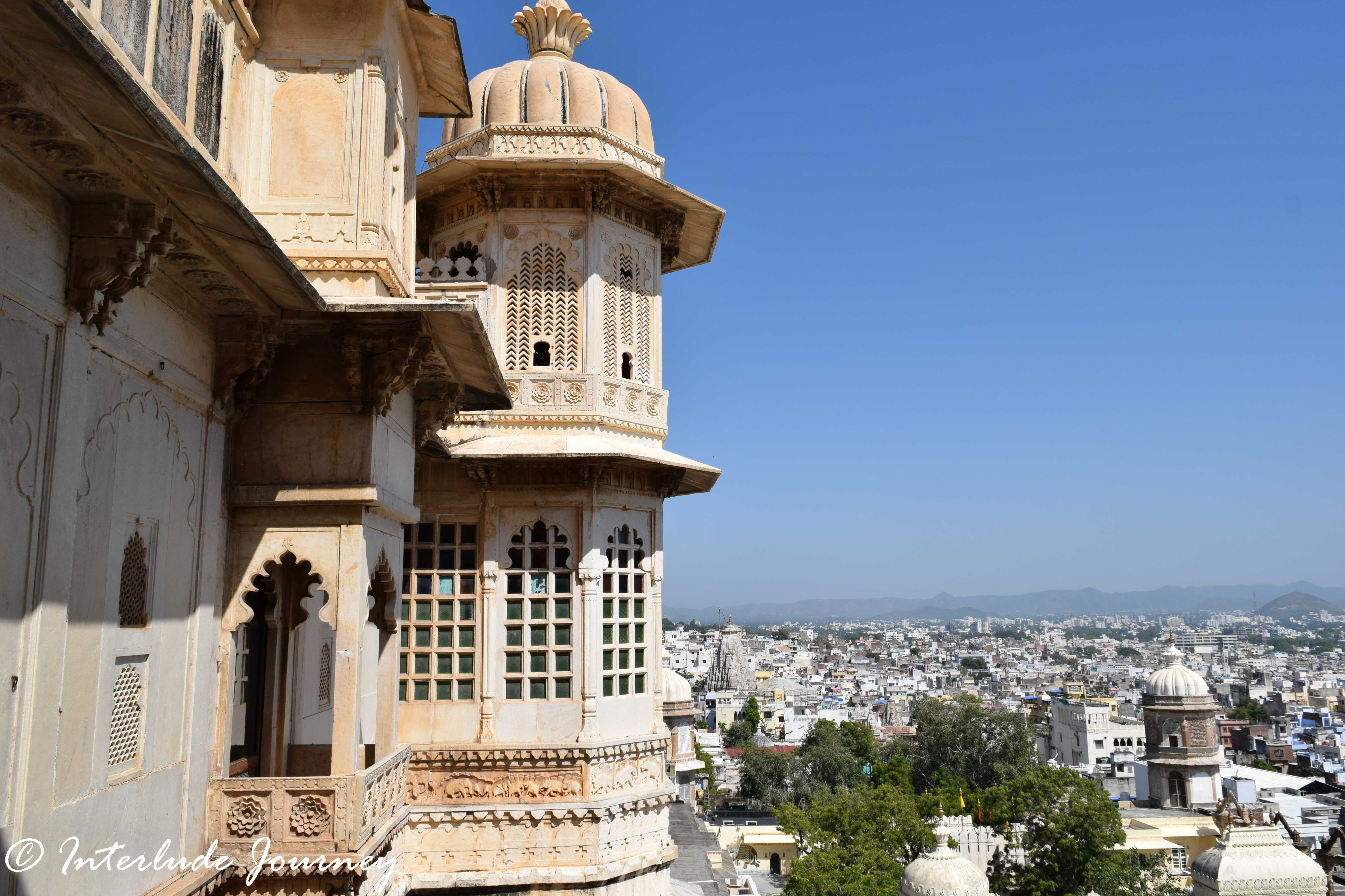 The view of Udaipur from one of the many cupolas in Udaipur City palace