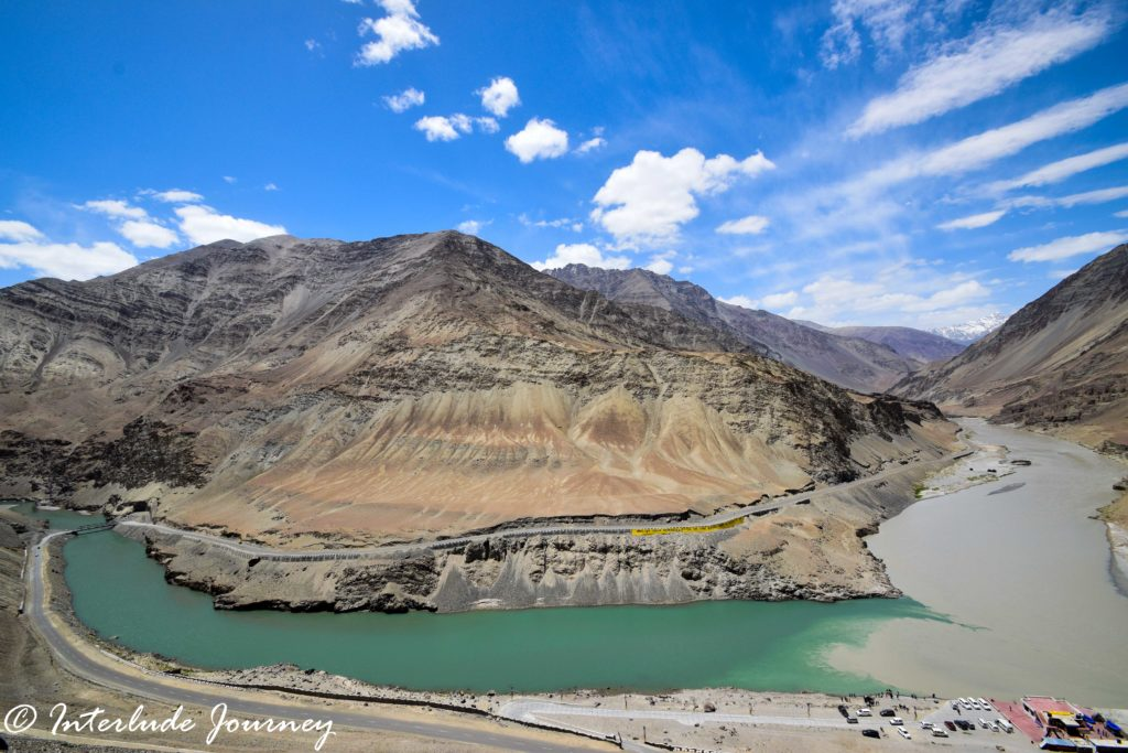 Confluence of Indus and Zanskar rivers at Nimmo in Ladakh