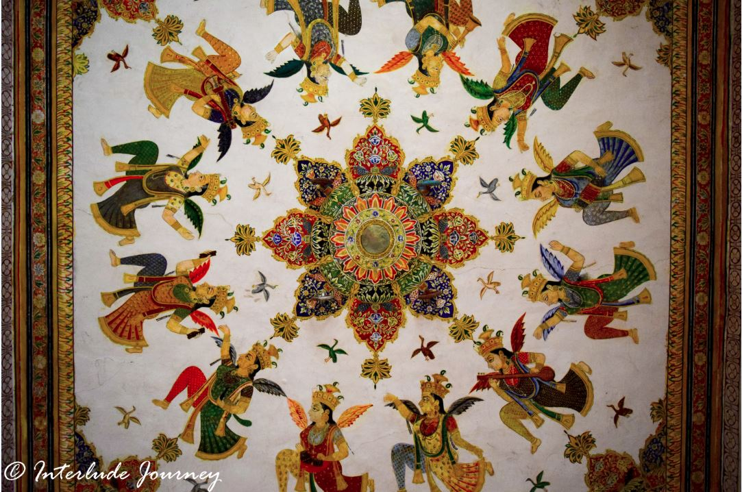 Ornate ceiling of Abha Mahal